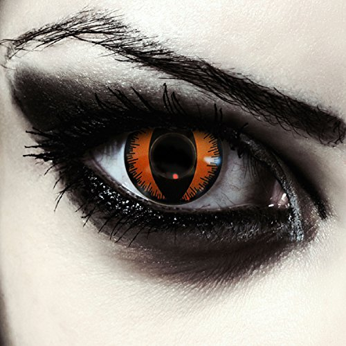"Lentillas de colores naranjas para Halloween costume ojo de gato / dragón lentes sin dioprtías / corregir + gratis caso de lente ""Orange Dragon"""