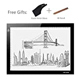 Huion 310 x 210 mm LED Light Pad ultra thin 5mm Drawing Box Copy Tracing Stencil Tattoo Board Table with Kenting Artist Glove and 2 PCS 4B Pencils (L4S)