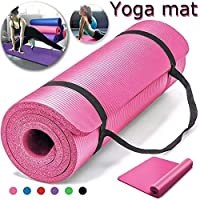 Non-Slip yoga mat 10mm thick NBR Gym home mat exercise mat sport mat-183 * 61cm-PINK