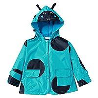 Eastlion Children Cute Raincoat Windproof Rainproof Jackets Cartoon Hooded Outerwear,Blue,100CM
