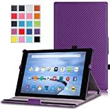 MoKo Fire HD 10 Case - Slim-Fit Multi-angle Folio Cover with Auto Wake / Sleep for Amazon Kindle Fire HD 10.1 Inch Display Tablet (2015 Release Only), Carbon Fiber Purple