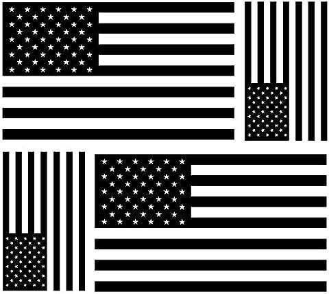 Akacha Aufkleber, Sticker, für Auto, Motorrad, USA-Flagge, Schwarz / Weiß,