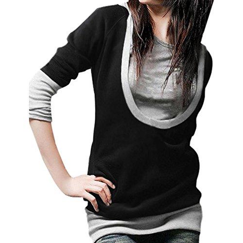 Bekleidung Longra Damen Baumwolle Langarm Hoodie Sweatshirt Mode Frauen locker Pullover Tops...