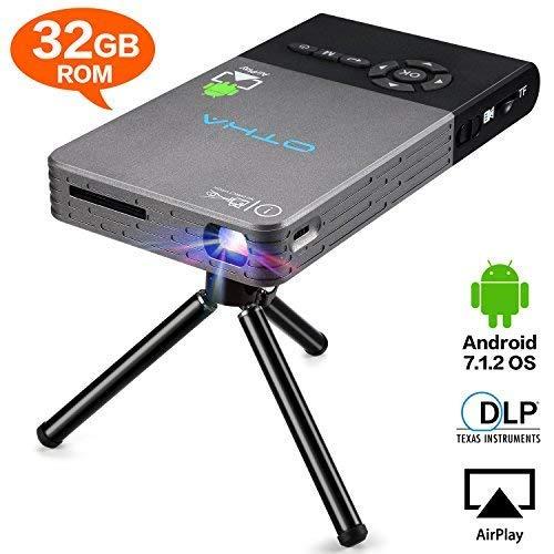 OTHA Vidéoprojecteur, Mini Projecteur, Android 7.1, pour iOS et Android, Mini Videoprojecteur avec Télécommande à Trépied, Pico Projecteur portatifs Cinéma Maison sans Fil 120 Pouces - Noir (32Go)