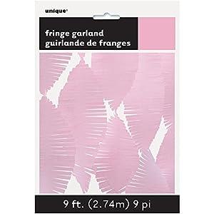 Unique Party- Guirnalda de flecos de papel de seda, Color rosa claro, 274 cm (63636)