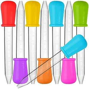 Senhai 8 Stück Liquid Dropper, Silikon und Plastik Pipetten Transfer Eyedropper mit Birne Spitze für Süßigkeiten Öl Küche Kinder Gummy Making - 7 Farben