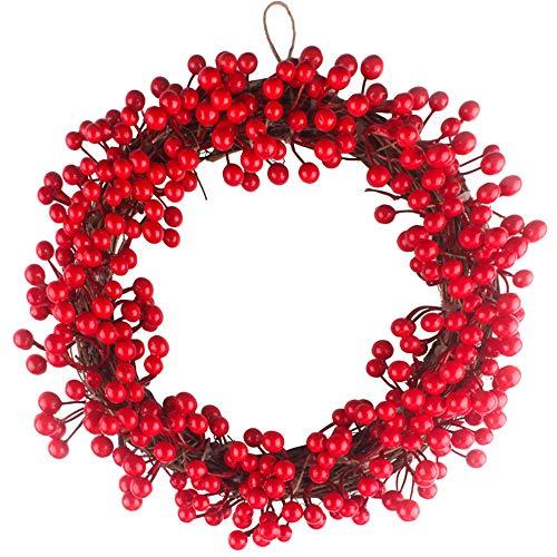 TAOtTAO Rattan Wreath 35cm Rote Beeren Weihnachtskranz Roten Kranz hängende Weihnachtsdekoration