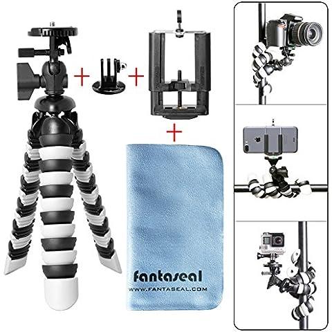 Fantaseal® 3-en-1 Trípode para móvil + Gopro + Cámaras Pulpo del trípode de cámara Trípode DSLR Trípode Flexible Trípode de Aire Libre Trípode de Table Trípode de Viaje Trípode Portátil Titular de montaje del trípode Párese Selfie con Placa de liberación rápida,Gopro Montura de Trípode, Clip de móvil (Hasta 5,5