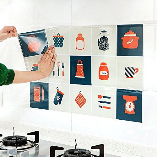 Leosi Adhesivo de cocina extraíble a prueba de aceite, resistente al calor, resistente al agua, adhesivo de aluminio, pegatinas de papel de aluminio, decoración para comedor, Tableware #1, 75 cm X 45 cm (29.5″ X 17.72″)