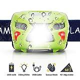[Neueste]Fukkie LED Stirnlampe, Wiederaufladbare Kopflampe mit Gestensteuerung, 8 Lichtmodi, Verstellbares Band, 1200mAh und USB Kabel, Wasserdicht 150LM Ideal für Joggen, Radfahren, Wandern und mehr, Grün