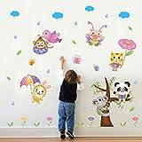 S.Twl.E Parete Cartoon adesivo Baby Nursery camera da letto camera dei bambini arredamento adesivo parete Wallpaper poster autoadesivi volare impermeabile re animali.