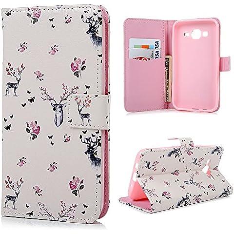 ZSTVIVA Funda protectora con tapa para Samsung J5, diseño colorido, piel sintética, soporte incorporado, cierre magnético, tarjetero, Flowers Elk