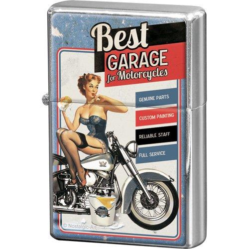 Nostalgic-Art 80253 Biker's Corner Best Garage, Feuerzeug, blau