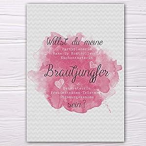 """A6 Postkarte """"Willst du meine Brautjungfer sein?"""" in grau/rosa Glanzoptik Papierstärke 235 g / m2 Geschenk für Schwester…"""