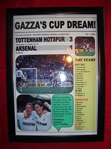 Tottenham Hotspur FC Arsenal, 3 1-1991 FA-Cup-Finale, halbrund, gerahmt -