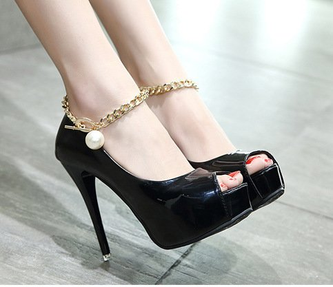 YCMDM Femmes Sandales Chaîne métallique Chaussures à talons étanches Chaussures Chaussures de banquet Open Toe Black