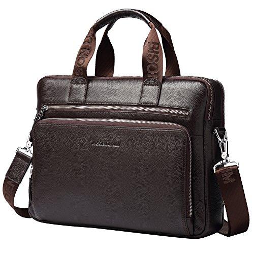 BISON DENIM Herren klassische Leder Aktenkoffer Laptop Schulter Messenger Bag Business Tote (N2333-Large-Coffee (15-17inch laptop))