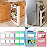 Shopybucket Multipurpose 3-Tier Kitchen Storage Shelves With Pulley Refrigerator Clearance Gap Storage/Bathroom Storage Racks Wall Cabinets 54X13X72Cm