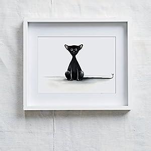 Fine Art Druck auf hochwertige Papier von Hahnemühle Tier Charakter Katze Blacky Kunstdruck für Kinderzimmer .