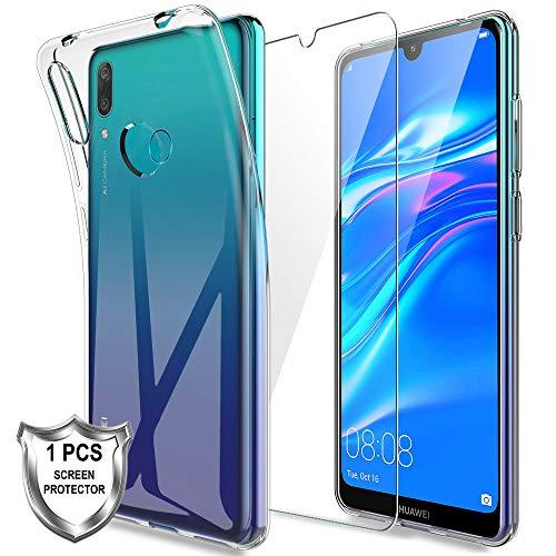 KundL LK Hülle für Huawei Y7 2019 / Y7 Prime 2019,Schlanker Weiche Flex Silikon TPU Schutzhülle Case Cover mit Panzerglas Folie[1 Stück] für Huawei Y7 2019 / Y7 Prime 2019 - Transparent