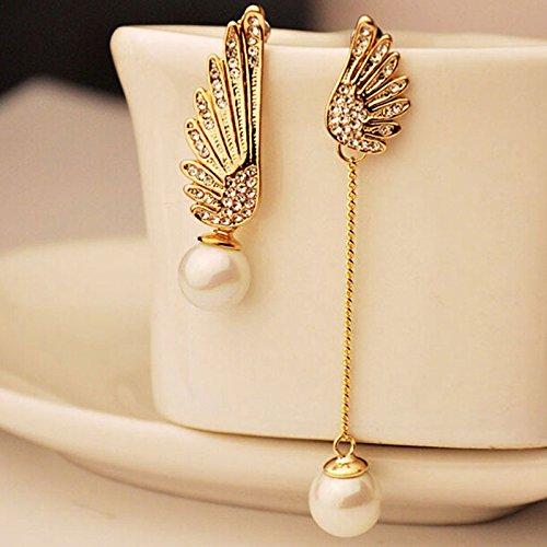 Bazhahei Pendiente Del Perno Prisionero Angel Wings Asymmetric Pearl Earrings Las Mujer Calientes de la Moda de Cristal Rhinestone Stud Cuelgan Pendientes Joyas