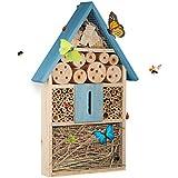 Relaxdays Hôtel à Insectes à Suspendre Maison à Papillon Bois Jardin Balcon Abeilles coccinelles HxlxP: 48,5 x 31 x 7 cm, Bleu, 7 x 31 x 48,5 cm