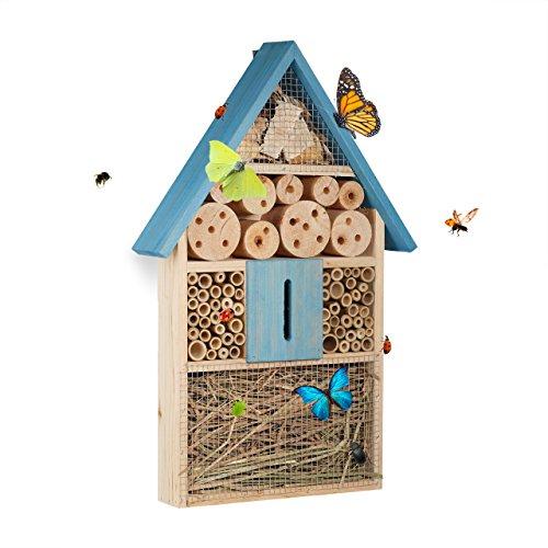 Relaxdays 10020737_45 casetta hotel per insetti api farfalle coccinelle da appendere da balcone in legno hxlxp: 8,5 x 31 x 7 cm, blu