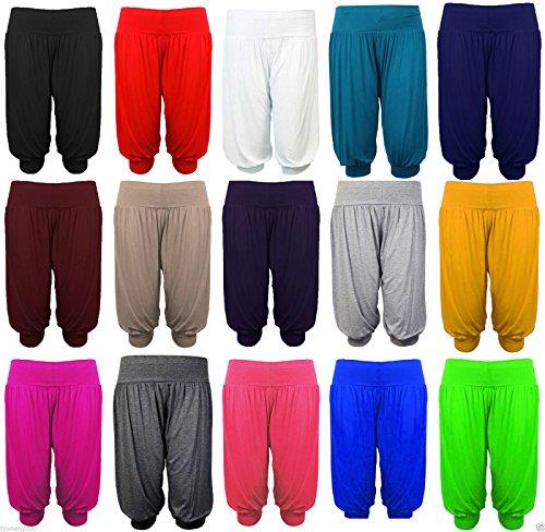 ASBAHFASHION-Ladies-34-Harem-Ali-Baba-Trousers-Shorts-Womens-Plain-Cropped-Pants