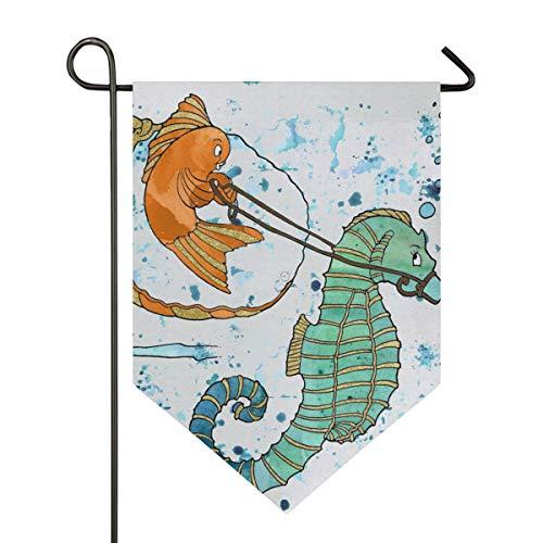 stige Seepferdchen-Goldfisch-Malerei Gartenflaggen Premium-Qualität Hofurlaub und saisonale Dekorationsflaggen für den Außenbereich - doppelseitig, Polyester, 1, 12x18.5in ()