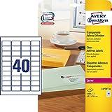 AVERY Zweckform L4770-25 Adress-Etiketten (A4, 1.000 Stück, 45,7 x 25,4 mm, 25 Blatt) transparent