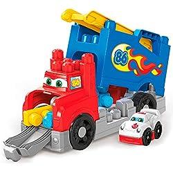 Mega Bloks Camión de carreras y construcción, juguete construcción bebé +1 año (Mattel FVJ01)