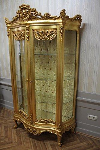 LouisXV Barock Vitrine Rokoko Antik Stil Schrank Louis XV MkVi0120Go Gold antik Stil Massivholz....