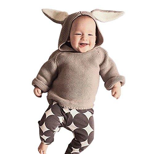 De feuilles Kleinkinder Sweatshirt Langarm Winter Pullover Strickpullover Hase Hasenohren Baby Strick Jumper Unisex Jungen Mädchen Hoodies (Braun Kinder Hoodie)