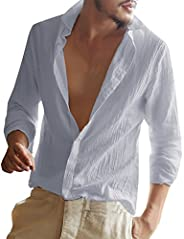 Gemijacka heren linnen hemd lange mouwen heren overhemd zomerhemd heren regular fit vrijetijdshemd