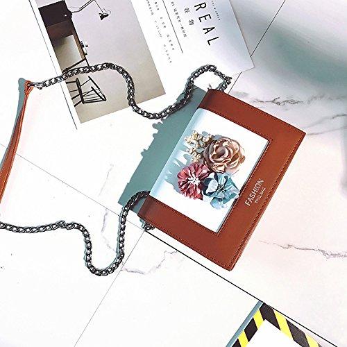 Sacchetto del messaggero dei fiori della perla 3D con la catena,Green Brown