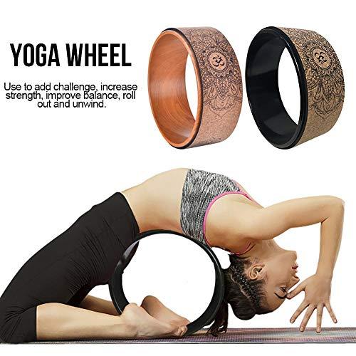 SOWLFE Kork-Yoga-Rad, natürliches Fitness-Rad Dharma-Yoga-Propellerrad Hohl Pilates Kreis Yoga-Zubehör Verbesserung der Rückenbiegungen Stretch für Yoga-Praxis (Bright Black/Holzmuster