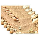 XiangHeFu Tischsets Strandmuscheln mit Sand 30,5 x 45,7 cm, Rutschfest, hitzebeständig, für Esstisch, Polyester-Mischgewebe, Image 239, 12x18x1 in