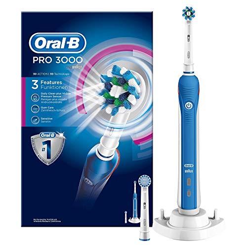 Oral-B Pro 3000 Elektrische Zahnbürste, mit Timer, CrossAction und Sensitive Aufsteckbürsten, weiß/blau