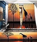 smallbeefly Afrika Verdunkeln breit Vorhänge Giraffen auf Sträucher von der See Oberfläche Horizon in die Mitte von Nirgendwo Bild Decor Vorhänge, von Orange Schwarz