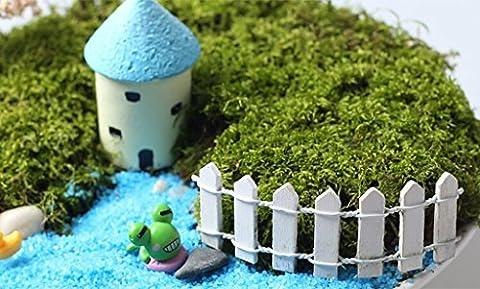 nalmatoionme weiß 10* 3cm Holz-Blume Topfpflanze Dekoration Miniatur Mini Garden Lattenzaun Micro Landschaft