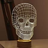 SHENNOSI® 3D Glow LED Lamp - Art Sculpture Lights Up in Produces Unique Lighting Effects and 3D visualization Amazing Optical Illusion (Skull)
