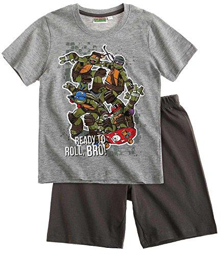 Shorty-Pyjama - grau - 128 (Ninja Turtles Kinder)