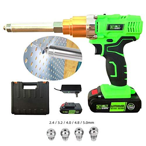 QQLK 26V Elektrische Nietpistole - Tragbar Schnurlose Blindnietgerät - Mit Beleuchtungslampe und Werkzeugkasten, 3000 mAh Lithiumbatterie, 9000 N Zugkraft,Battery*1