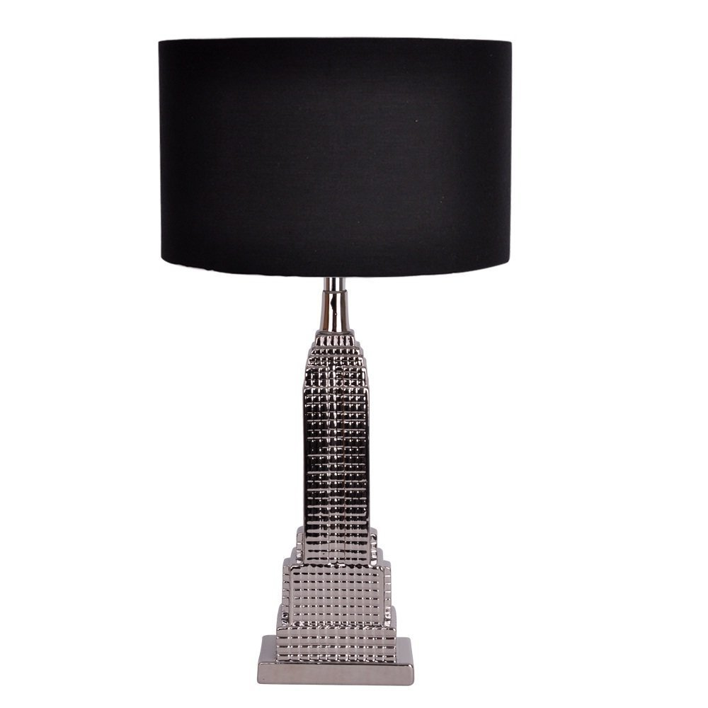 Modern Silver New York Empire State Building Table Lamp with Black ...