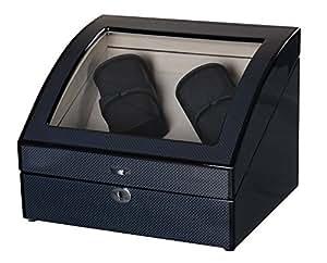 Lindberg & Sons Remontoir et Coffret à Montres pour quatre montres automatiques avec espace de rangement pour quatre montres supplémentaires Bois noir Cuir Synthétique velours crème LED - UB8222blcr