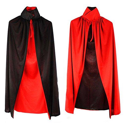 Damen Herren Halloween Umhang Karneval Fasching Kostüm Cape mit Kapuze (Rot und (Doppel Kostüme Halloween Lustig)