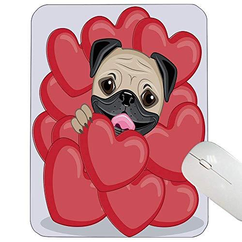 Mops angepasst Mauspad Liebe Valentines inspiriert Hund zeichnen mit riesigen Herzen und niedlichen Haustier handgezeichneten Gaming-Mauspad rot schwarz blass braun in,Gummimatte 11,8
