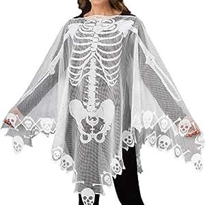 Heilsa Halloween a Forma di Scheletro Costume Cosplay Mantello Party Dress Up DIY Mantelle per Adulti e Bambini