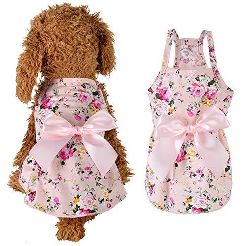 Austinstore Hundemantel Katzenbekleidung Hundejacke,Blumendruck-Baumwollnettes Haustier-Kleid-Kostüm-Ausstattungs-Kleidung,Kleiner Schoßhund Puppy Pink S