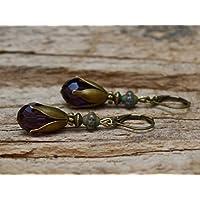 Vintage Tropfen Ohrringe mit Glasperlen - aubergine, lila, dunkelgrün & bronze